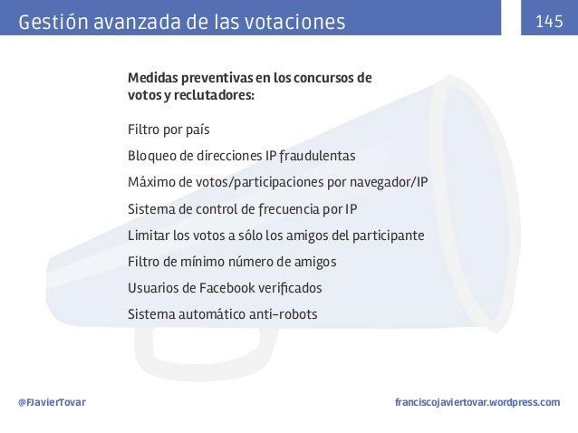 145  Gestión avanzada de las votaciones Medidas preventivas en los concursos de votos y reclutadores: Filtro por país Bloq...