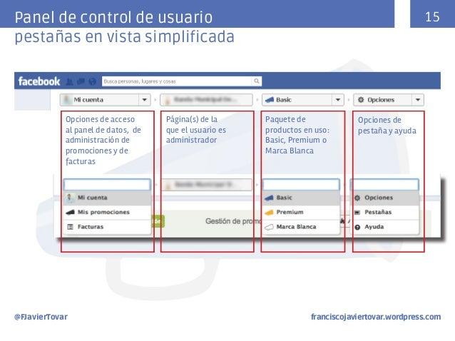 15  Panel de control de usuario pestañas en vista simplificada  Opciones de acceso al panel de datos, de administración de...