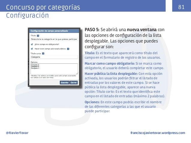 81  Concurso por categorías Configuración PASO 5: Se abrirá una nueva ventana con las opciones de configuración de la list...