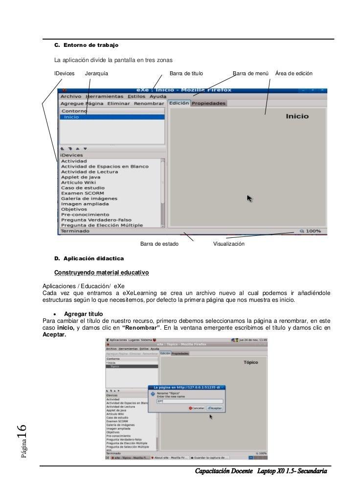 C. Entorno de trabajo             La aplicación divide la pantalla en tres zonas             IDevices    Jerarquía        ...