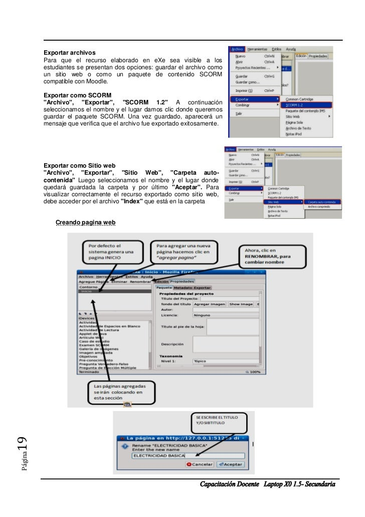 Exportar archivos         Para que el recurso elaborado en eXe sea visible a los         estudiantes se presentan dos opci...
