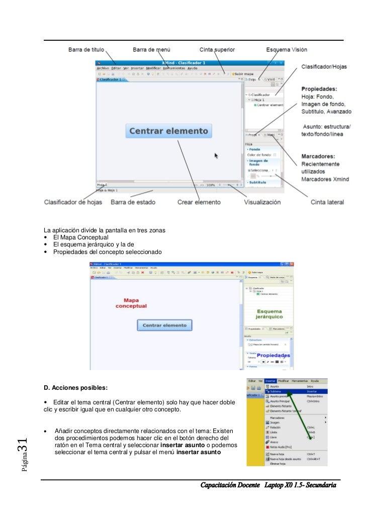 La aplicación divide la pantalla en tres zonas         El Mapa Conceptual         El esquema jerárquico y la de       ...