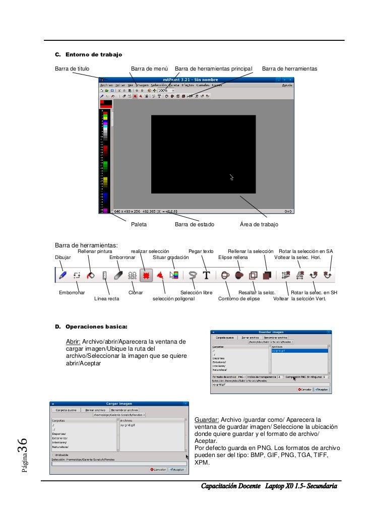 C. Entorno de trabajo         Barra de titulo                  Barra de menú       Barra de herramientas principal        ...