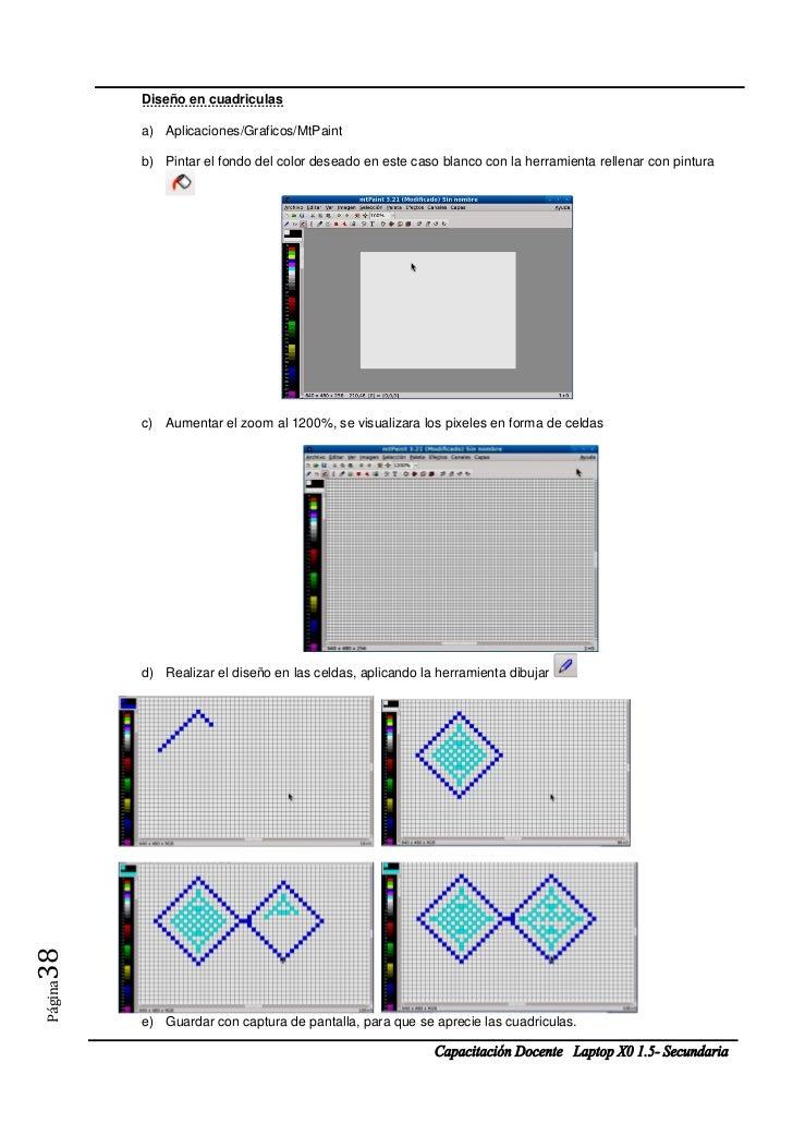 Diseño en cuadriculas         a) Aplicaciones/Graficos/MtPaint         b) Pintar el fondo del color deseado en este caso b...