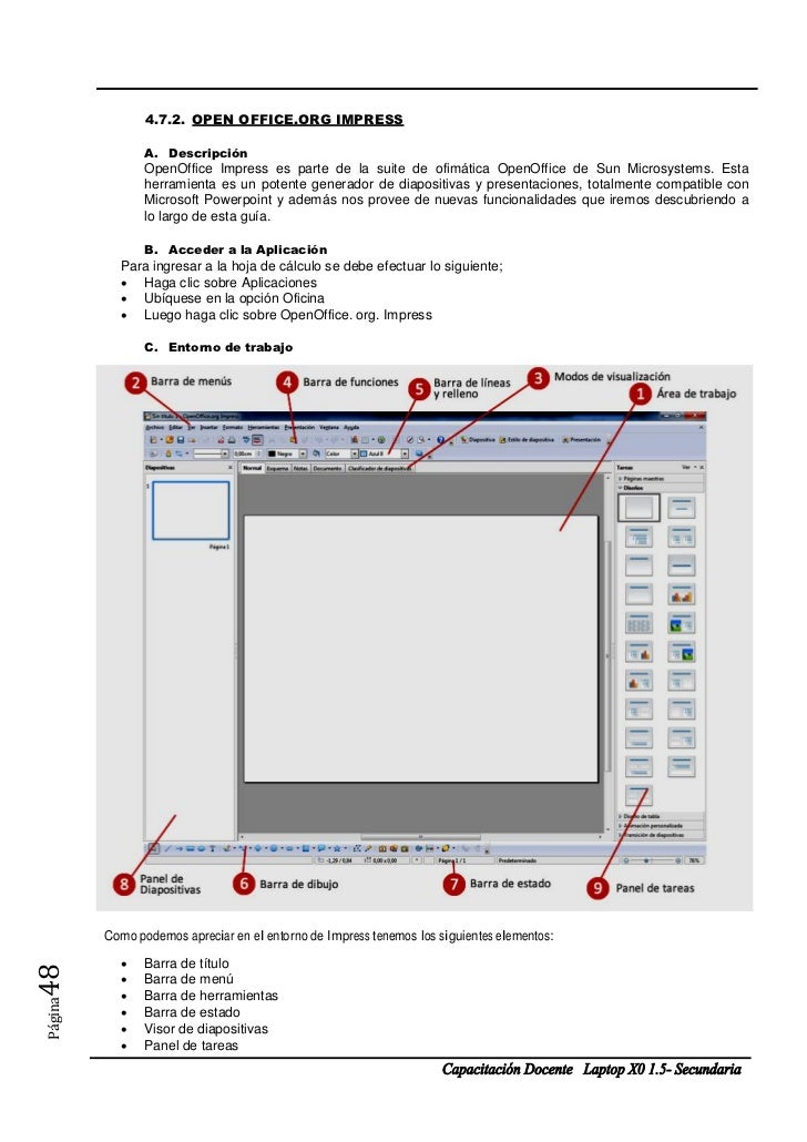 4.7.2. OPEN OFFICE.ORG IMPRESS                A. Descripción                OpenOffice Impress es parte de la suite de ofi...