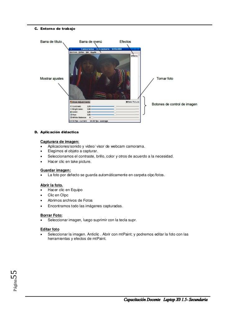 C. Entorno de trabajo         D. Aplicación didactica            Capturara de imagen:             Aplicaciones/sonido y v...