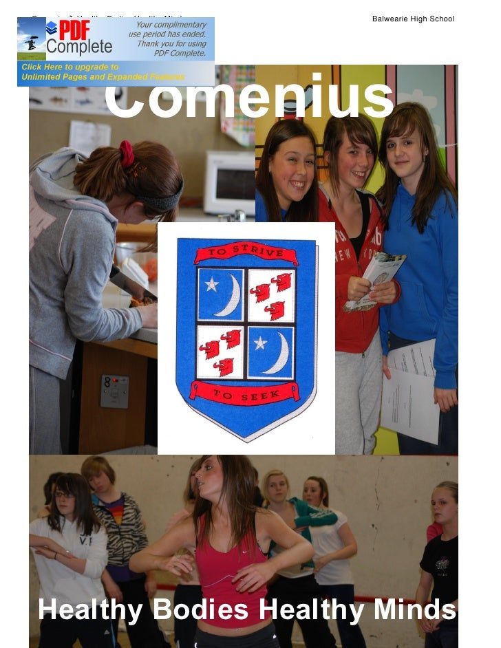 Comenius Healthy Bodies Healthy Minds   Balwearie High School                 Comenius Healthy Bodies Healthy Minds