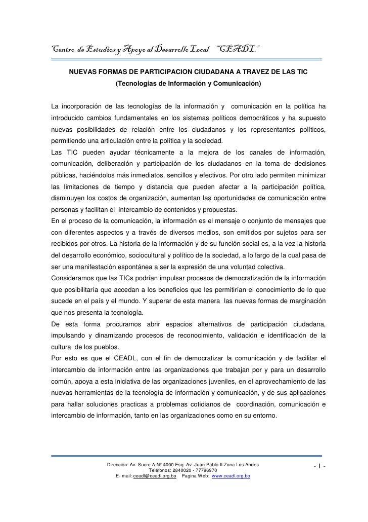 """Centro de Estudios y Apoyo al Desarrollo Local """"CEADL""""        NUEVAS FORMAS DE PARTICIPACION CIUDADANA A TRAVEZ DE LAS TIC..."""