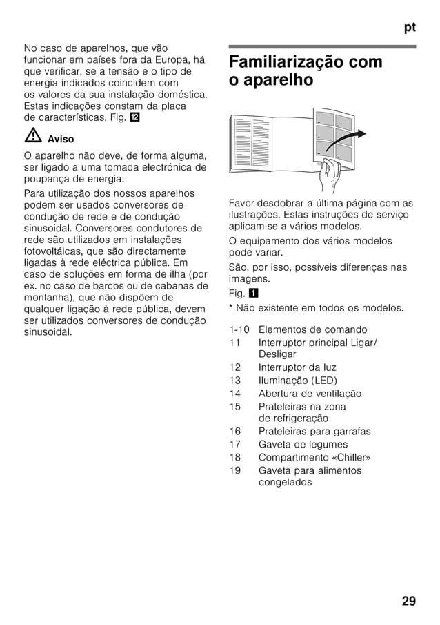 pt 29 No caso de aparelhos, que vão funcionar em países fora da Europa, há que verificar, se a tensão e o tipo de energia ...