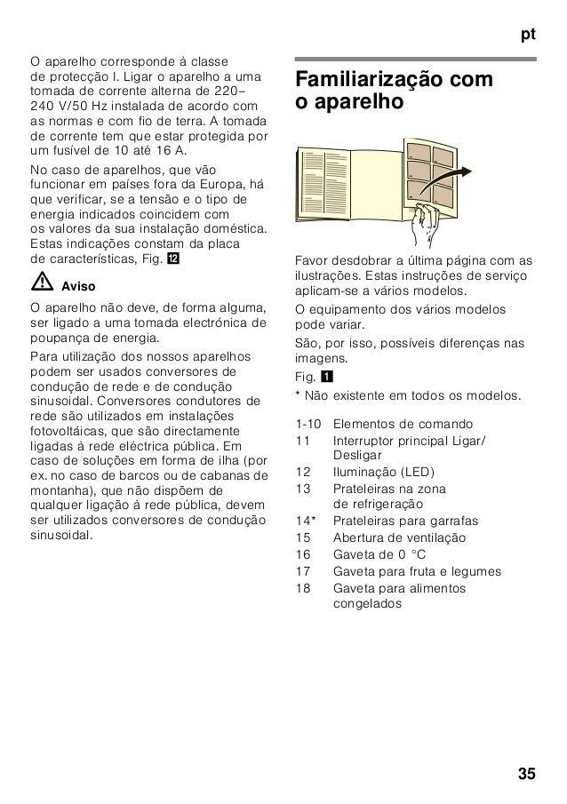 pt 35 O aparelho corresponde à classe de protecção I. Ligar o aparelho a uma tomada de corrente alterna de 220– 240 V/50 H...