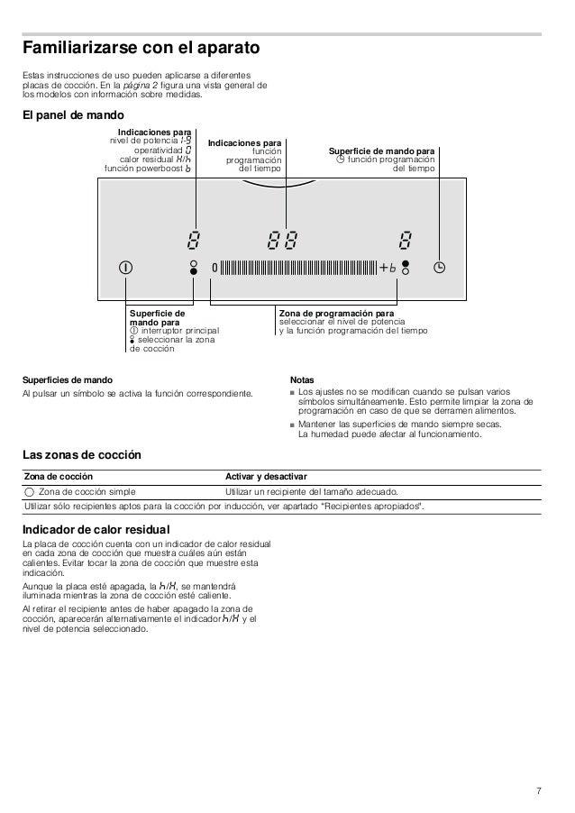 7 Familiarizarse con el aparato Estas instrucciones de uso pueden aplicarse a diferentes placas de cocción. En la página 2...