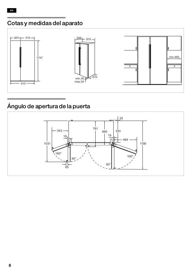 Manual bosch frigorifico americano cristal blanco kad62 s21 - Frigorifico americano medidas ...