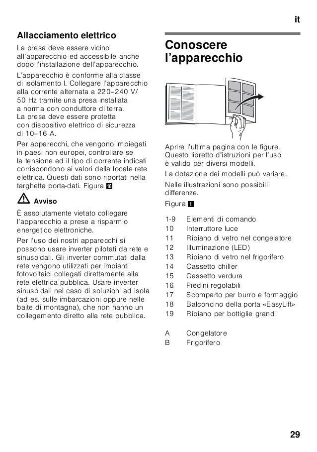 it 29 Allacciamento elettrico La presa deve essere vicino all'apparecchio ed accessibile anche dopo l'installazione dell'a...