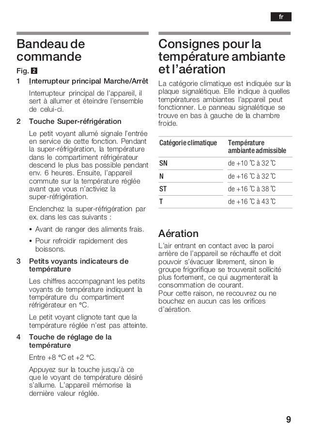 9 Bandeau de commande Fig. 2 1 Interrupteur principal Marche/Arrêt Interrupteur principal de l'appareil, il sert à allumer...