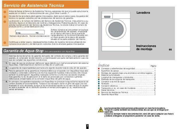 Servicio de Asistencia Técnica  Antes de llamar al Servicio de Asistencia Te'cnica,  asegúrese de que no puede solucionar ...