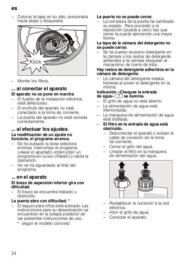 es 25 – Tras concluir el programa de lavado, el agua no es evacuada completamente de la cuba del aparato. – ( : ) El tubo ...