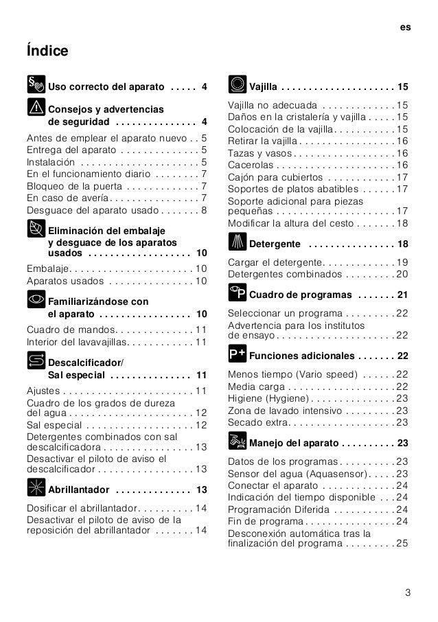 Manual bosch   lavavajillas blanco sms57 e22eu Slide 3