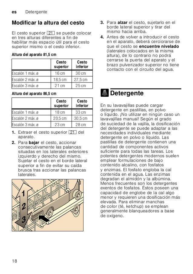 Detergente es 19 Nota Para lograr un buen resultado de lavado de la vajilla, deberán observarse estrictamente las instrucc...