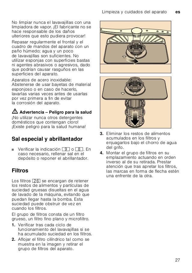 es Pequeñas averías de fácil solución 28 Advertencias relativas a los brazos de aspersión Los depósitos de cal o las partí...