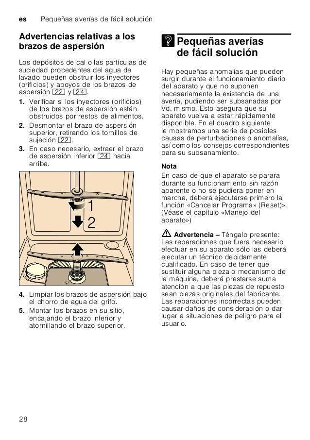 Pequeñas averías de fácil solución es 29 Bomba de evacuación Los restos de alimentos y partículas de suciedad gruesos no r...