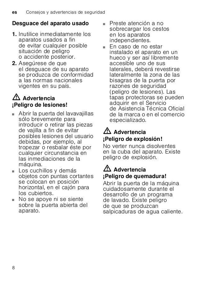 Consejos y advertencias de seguridad es 9 m Advertencia ¡Peligro en caso de haber niños en el hogar! Use el seguro para ni...