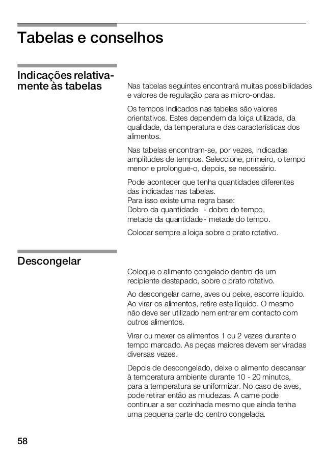58 Tabelas e conselhos Nas tabelas seguintes encontrará muitas possibilidades e valores de regulação para as microĆondas. ...