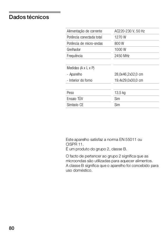 80 Alimentação de corrente AC220Ć230 V, 50 Hz Potência conectada total 1270 W Potência de microĆondas 800 W Grelhador 1000...