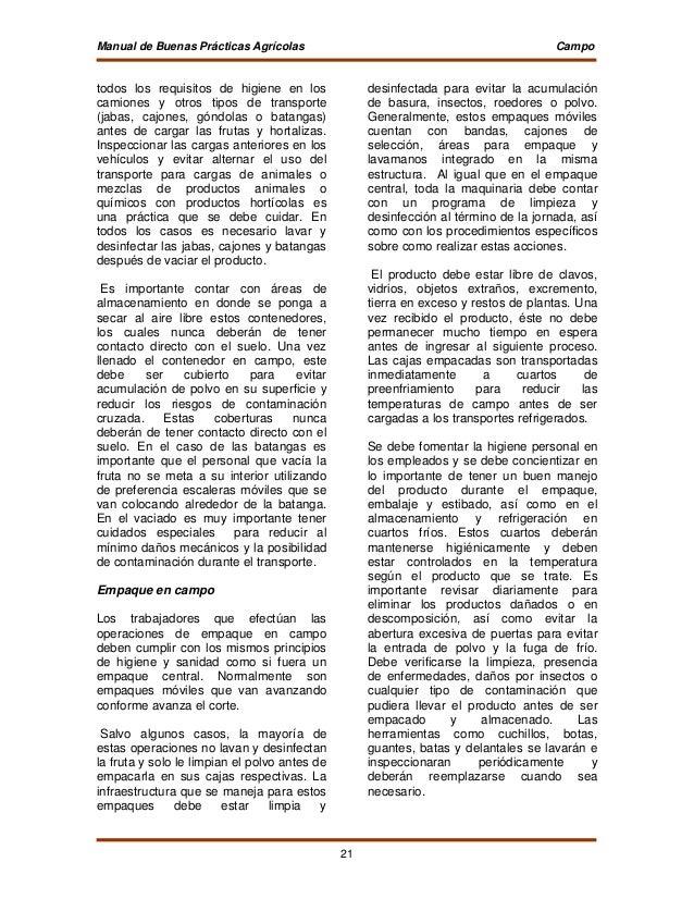 Manual buenaspracticasfrutashortalizasfrescas for Manual de limpieza y desinfeccion en restaurantes