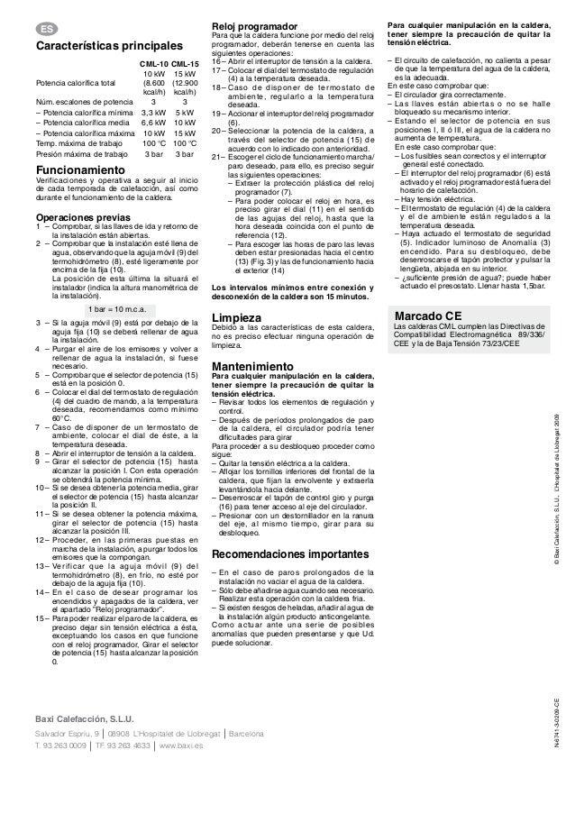 Manual caldera eléctrica Baxiroca CML 10 y 15