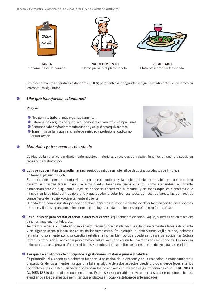 Manual calidad higiene de alimentos for Manual de procedimientos de cocina en un restaurante