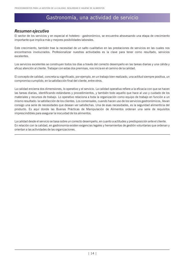 PROCEDIMIENTOS PARA LA GESTIÓN DE LA CALIDAD, SEGURIDAD E HIGIENE DE ALIMENTOS                           Gastronomía, una ...