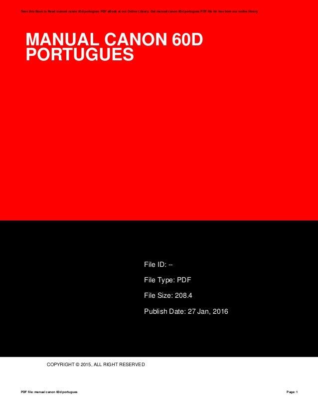manual canon 60d portugues