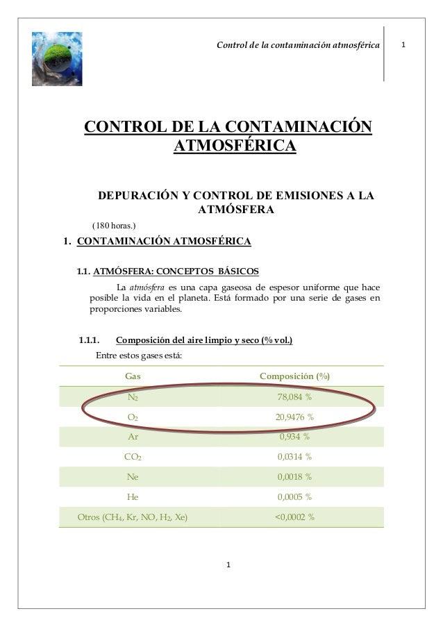 Control de la contaminación atmosférica 11CO TROL DE LA CO TAMI ACIÓATMOSFÉRICADEPURACIÓ Y CO TROL DE EMISIO ES A LAATMÓSF...