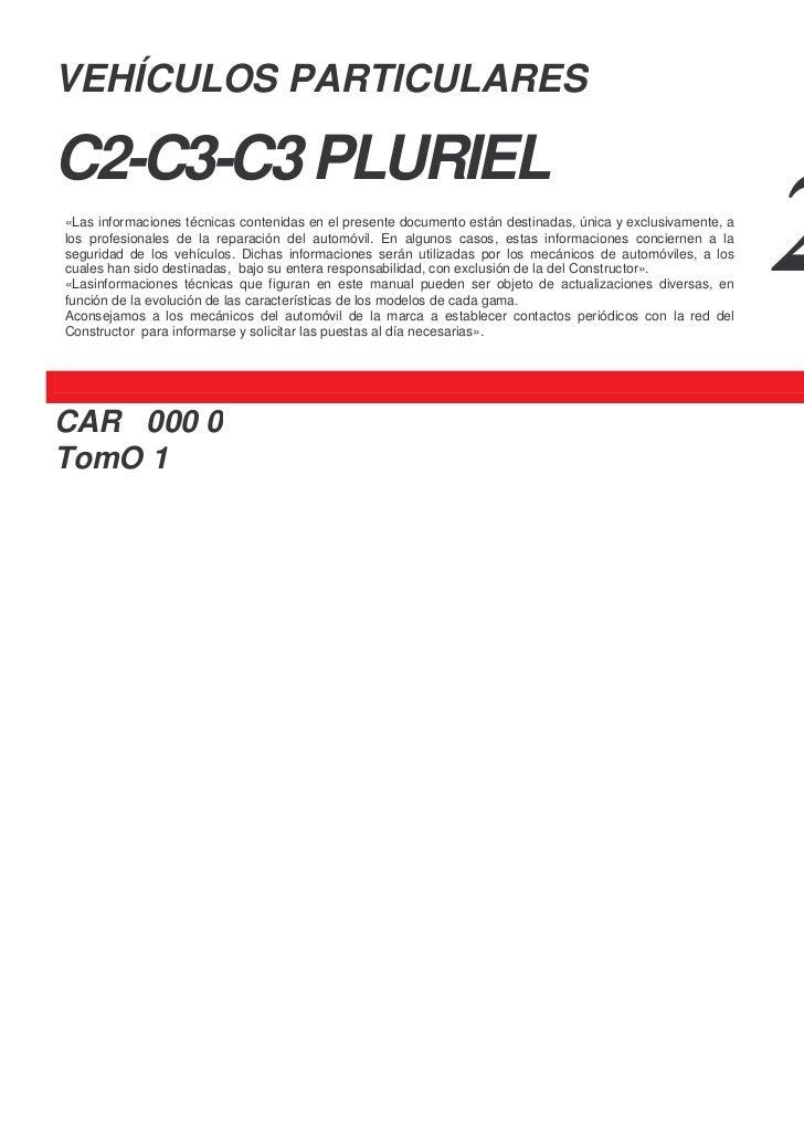 VEHÍCULOS PARTICULARESC2-C3-C3 PLURIEL«Las informaciones técnicas contenidas en el presente documento están destinadas, ún...