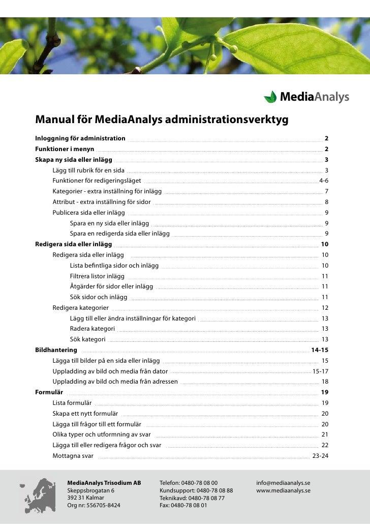 Sida: 1 av 23                                                                                          MediaAnalys Manual ...
