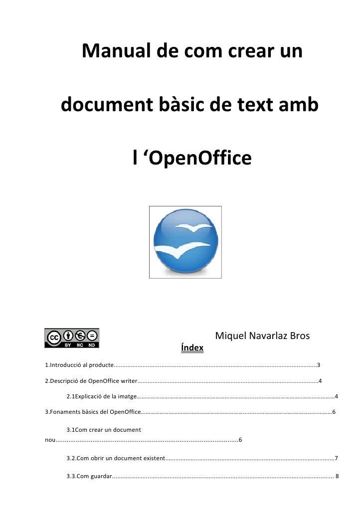 Manual de com crear un        document bàsic de text amb                                              l 'OpenOffice       ...