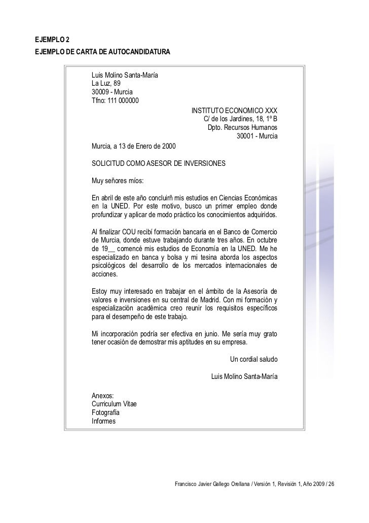 carta para enviar curriculum