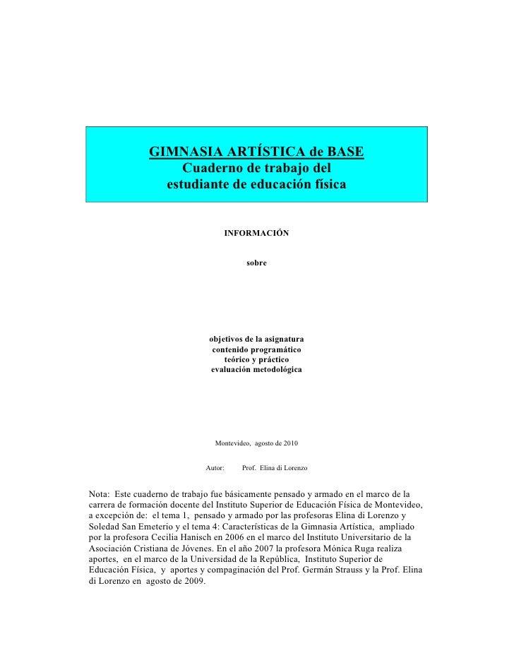 GIMNASIA ARTÍSTICA de BASE                     Cuaderno de trabajo del                  estudiante de educación física    ...