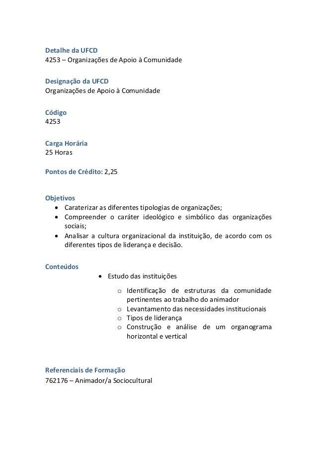 UFCD 4253 - Organizações de Apoio à Comunidade Slide 2