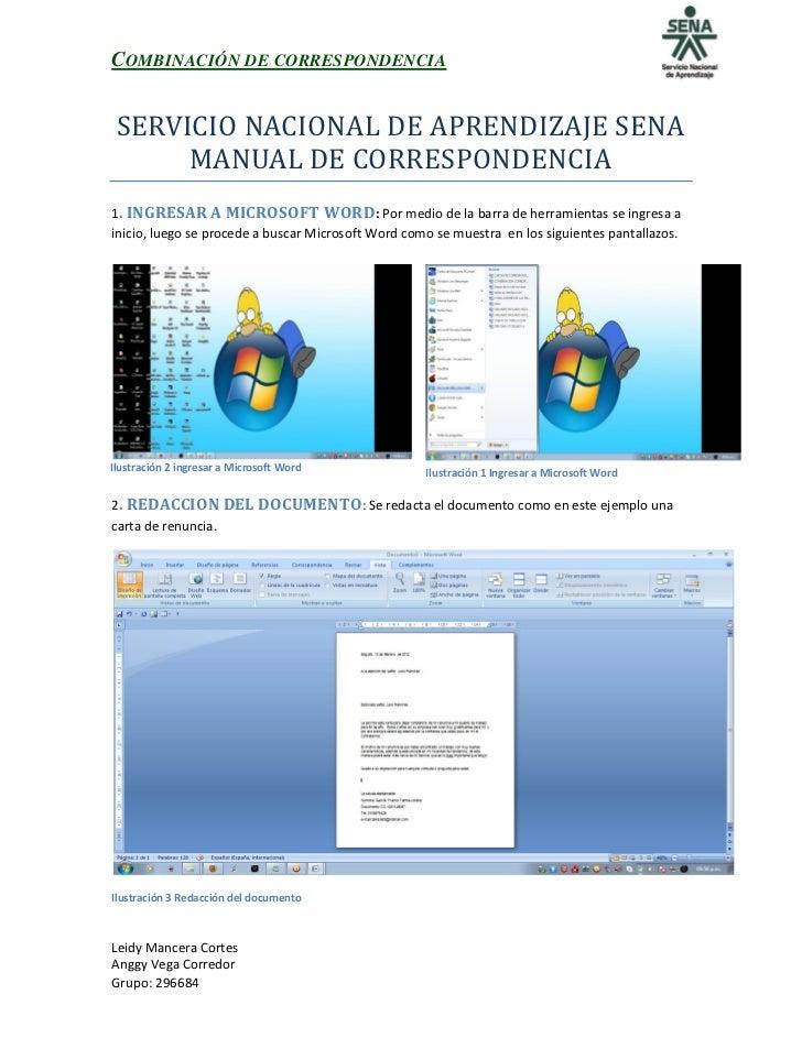COMBINACIÓN DE CORRESPONDENCIA SERVICIO NACIONAL DE APRENDIZAJE SENA      MANUAL DE CORRESPONDENCIA1. INGRESAR A MICROSOFT...