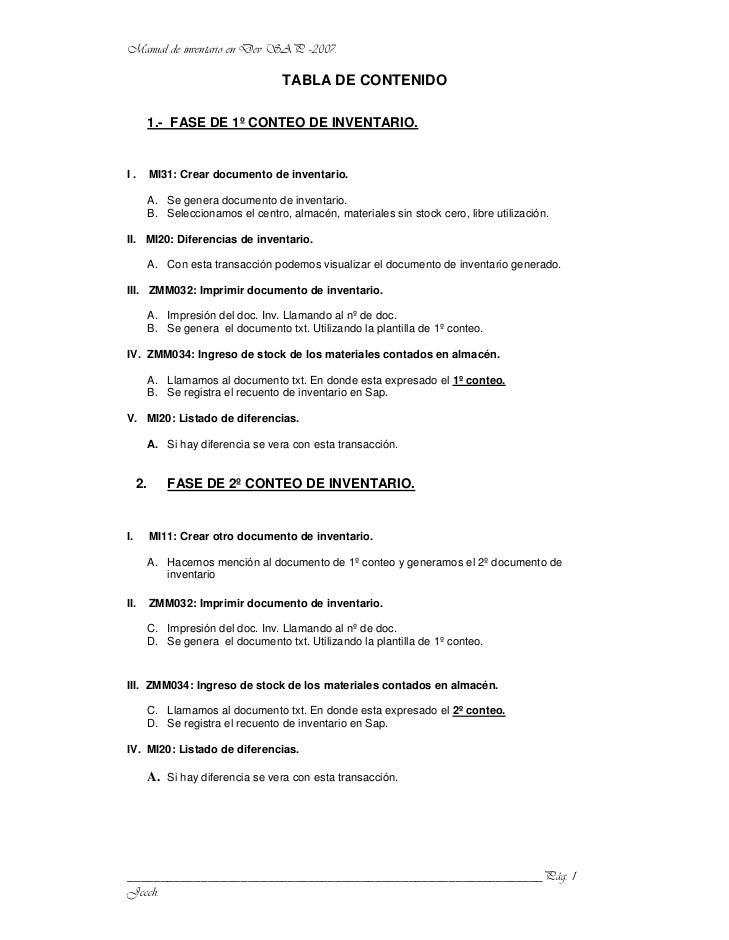 TABLA DE CONTENIDO          1.- FASE DE 1º CONTEO DE INVENTARIO.I.        MI31: Crear documento de inventario.          A....