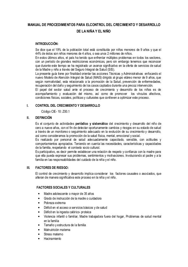 MANUAL DE PROCEDIMIENTOS PARA ELCONTROL DEL CRECIMIENTO Y DESARROLLO                                       DE LA NIÑA Y EL...