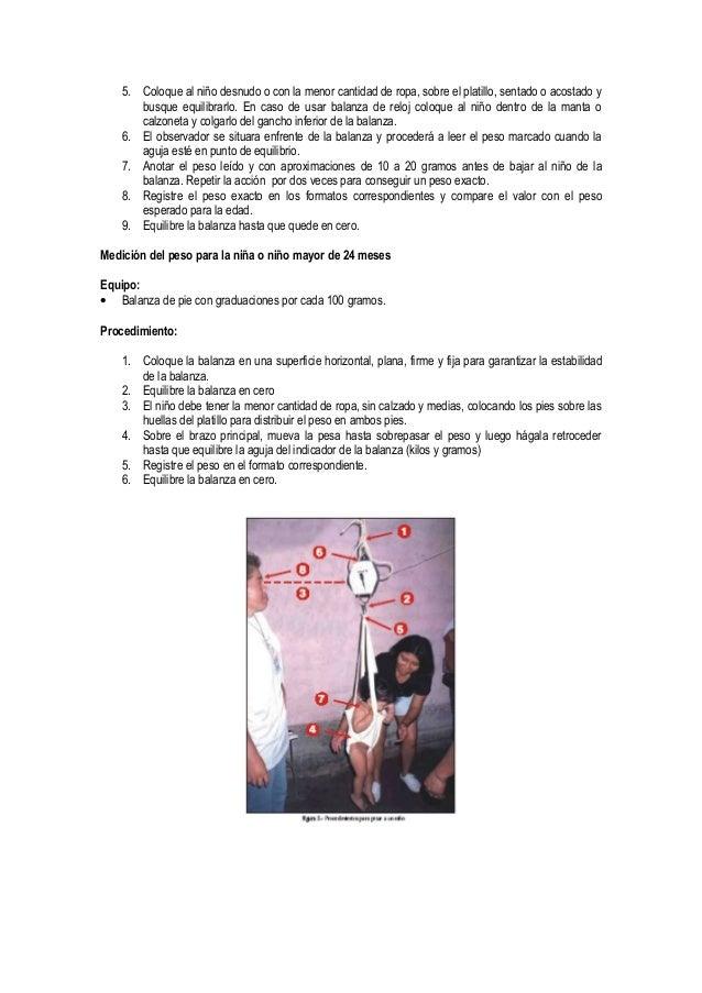 5. Coloque al niño desnudo o con la menor cantidad de ropa, sobre el platillo, sentado o acostado y       busque equilibra...