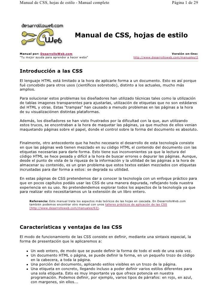 Manual de CSS, hojas de estilo - Manual completo                                                  Página 1 de 29          ...