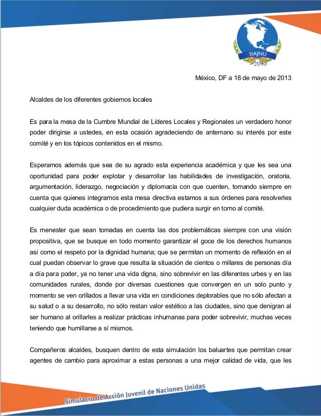 México, DF a 18 de mayo de 2013 Alcaldes de los diferentes gobiernos locales Es para la mesa de la Cumbre Mundial de Líder...