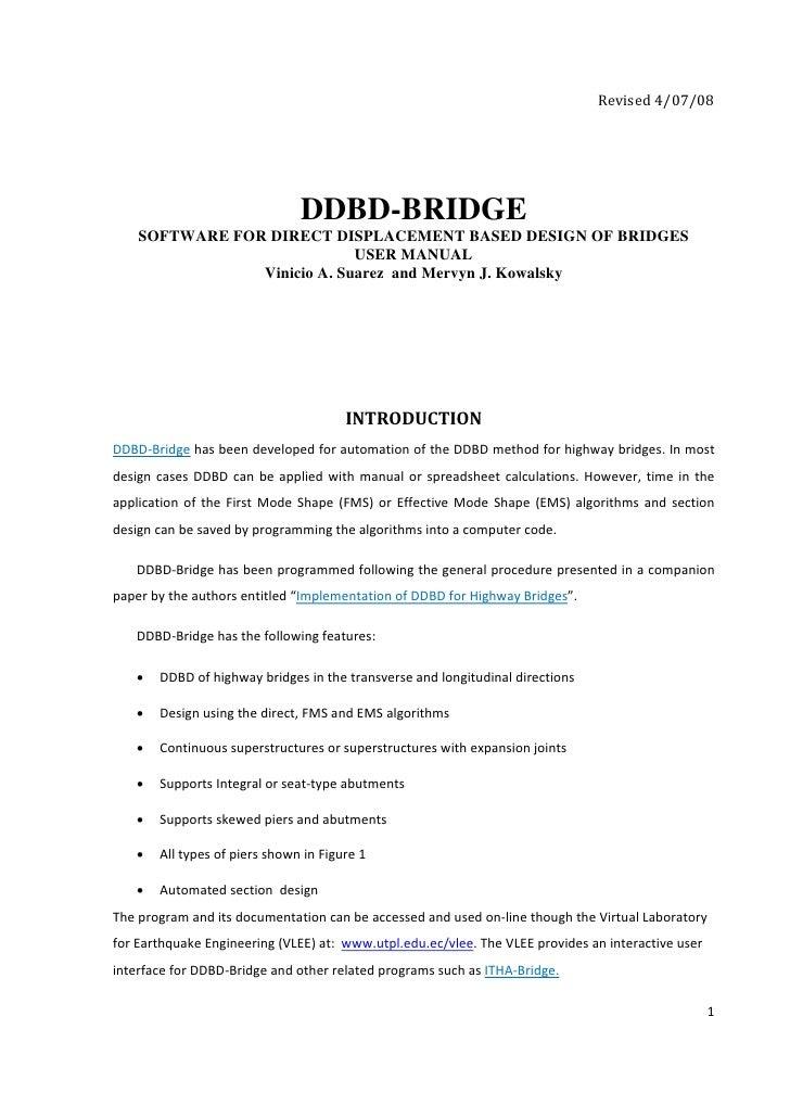 Revised4/07/08                                      DDBD-BRIDGE     SOFTWARE FOR DIRECT DISPLACEMENT BASED DESIGN OF BRI...