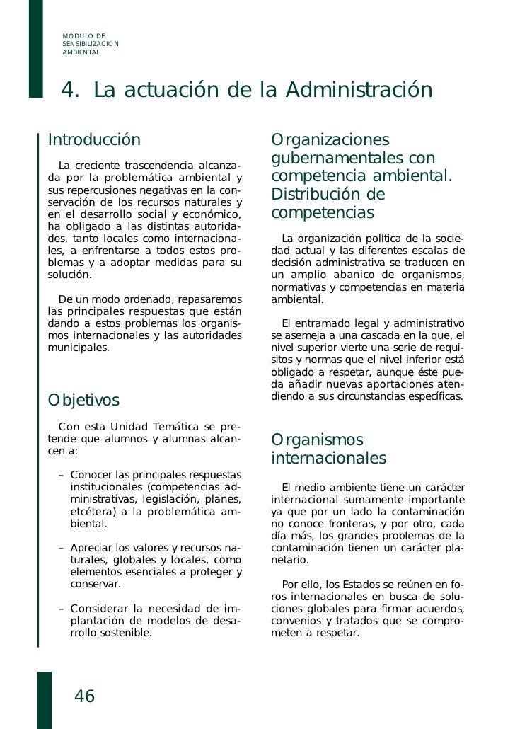 MÓDULO DE   SENSIBILIZACIÓN   AMBIENTAL       4. La actuación de la Administración  Introducción                          ...