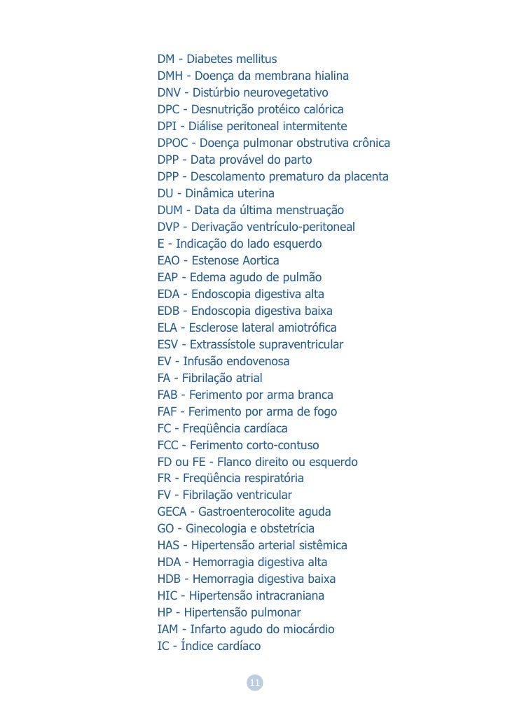DM - Diabetes mellitusDMH - Doença da membrana hialinaDNV - Distúrbio neurovegetativoDPC - Desnutrição protéico calóricaDP...