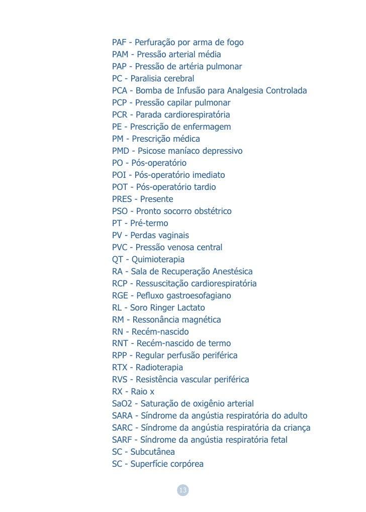 PAF - Perfuração por arma de fogoPAM - Pressão arterial médiaPAP - Pressão de artéria pulmonarPC - Paralisia cerebralPCA -...