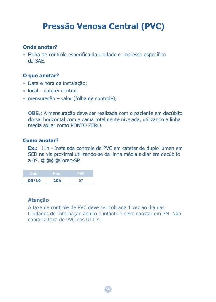 Pressão Venosa Central (PVC)Onde anotar?• Folha de controle específica da unidade e impresso específico  da SAE.O que anota...
